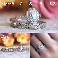 EG_ New Cubic Zircon Hollow Flower Elegant Women Wedding Engagement Rings Set La