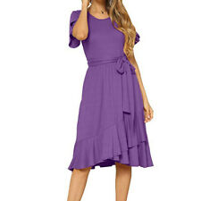 Women's Summer Plain Casual Flowy Sashes Sundress O-neck Short Sleeve Midi Dress