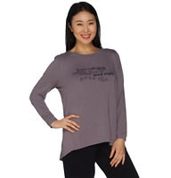 AnyBody Loungewear Cozy Knit Inspirational Message Top HTHR CHAR/SMILE Size XS