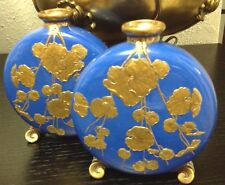 Pair 19th C. Aesthetic Movement Porcelain Moon Flasks by Grainger & Co Wedgwood