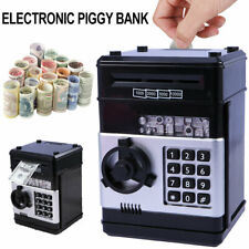 Digital Electric Piggy Bank Atm Cash Machine Coin Notes Money Saving Box Black