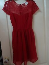 Gorgeous New Look deep red dress - size 8 - lovely partywear