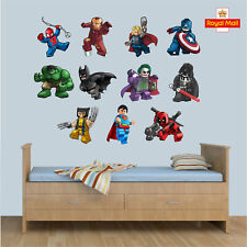 LEGO CHARACTERS STICKERS SUPER HEROES KIDS BEDROOM VINYL DECAL WALL ART STICKER