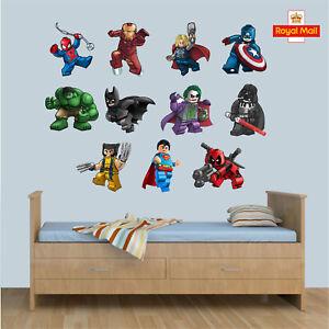 LEGO CHARACTERS STICKERS SUPER HEROES KIDS BEDROOM VINYL DECAL WALL ART STICKER