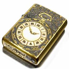 Zippo Oil Lighter Shell Paste Watch Pattern Gold Brass BS 2-81b Etching Japan