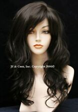 Beautiful natural Brown Wavy Long Wig with off center skin top w Bangs JSPP 4
