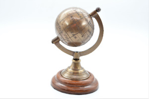 "Vintage Brass Nautical Antique Globe Maritime Decor Desktop Earth Globe 5"""