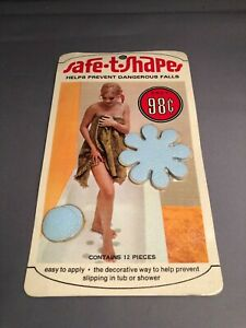 Vintage  Bathtub Appliques stickers  Safe T Shapes blue floral & dots