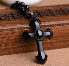 China Natural Carved Black Obsidian Cross Lucky Pendants + free Beads Necklace