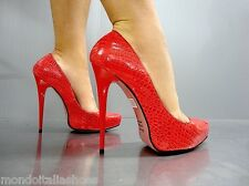 MORI ITALY PLATFORM NEW HIGH HEELS PUMPS SCHUHE SHOES KROCO LEATHER RED ROSSO 39