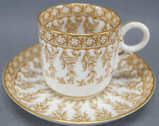Royal Worcester W 3020 7 Pattern Brown Floral Demitasse Cup & Saucer Circa 1890