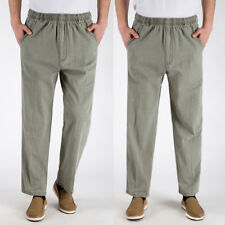 Men Cotton Linen Pants Sports Straight Long Slacks Trousers Elastic Waist XXXXXL