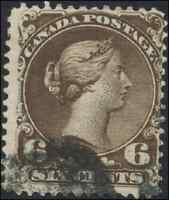 Canada #27 used F 1868 Queen Victoria 6c dark brown Large Queen CV$60.00
