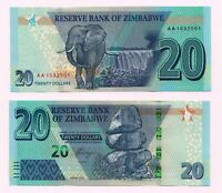 NEW: ZIMBABWE: 20 dollars Banknote,  2020, P-New, Redesigned, UNC condition