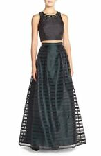 Xscape Crop Dress Sz 4 Black Emerald Jewled Top Full Maxi Skirt 2 Piece Formal