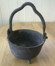 Vintage cast iron  cauldron  pot architectural salvage planter