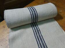 A Homespun Linen Hemp/Flax Yardage 16 Yards x 19'' Blue Stripes  # 9605