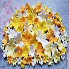60 edible sugar fondant flowers blooms cake cupcake topper decorations yellow
