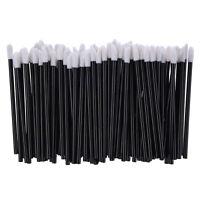 100 Count Disposable Lip Gloss Wands Applicators Black Handle Flocked AD