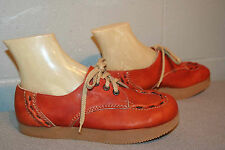 7 Nos Vtg 1960s 1970s Delmar Platform Heel Red Brown Leather 60s 70s Oxford Shoe