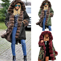 Fashion Womens Winter Long Warm Thick Parka Faux Fur Jacket Hooded Overcoat New