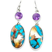 freedom sale 21.37cts multicolor spiny oyster arizona turquoise earrings p39643