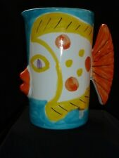 """Vintage Pitcher Kissing Fish Macy's  Pottery Hand Painted made in Italy 7 3/4"""""""