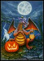 Halloween Dragon - Chart Counted Cross Stitch Pattern Needlework Xstitch DIY