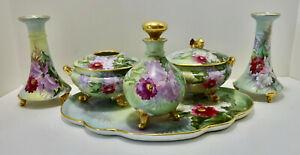 Antique Limoges Dresser Set, Orchids