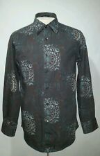 INDIGO PALMS by Tommy Bahama  Mens Brown Abstract Button Front  Shirt Size M
