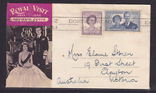 1953 ROYAL VISIT SOUVENIR COVER WITH CHRISTMAS SEAL CINDERELLA ON BACK.