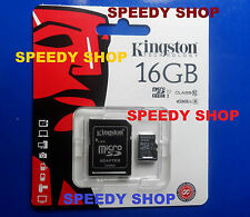 Micro SD 16GB Scheda di Memoria 45MB/s Classe 10 Kingston MicroSD SDHC Card