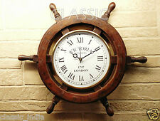 "Wooden Wheel Clock for Wall 18"" ✿ Sheesham Wood Vintage Antique type ~Home Decor"