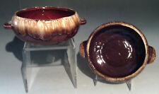 Set/2 Robinson-Ransbottom Onion Soup Bowls Brown Drip