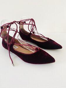 Steve Madden LeCrew Magenta Velvet Point Toe Lace Up Ballet Flats Size 7M
