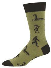 Socksmith Mens Crew Socks I'm A Believer Bigfoot Loch Ness Aliens Green New
