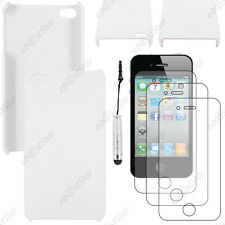 Etui Housse Coque Rigide Fine sans Blanc Apple iPhone 4S 4+Mini Stylet+3 Films