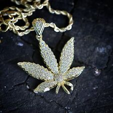 Gold Iced Out Marijuana Weed Leaf Pendant  With 24 In Rope Chain Necklace