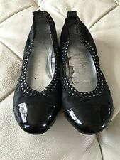 Women's Black Flat Shoes Polished Cap Toe and Silver Accent Size 6.5 Non-Leather