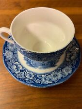 Vintage Liberty Blue Cup And Saucer Paul Revere And Old North Church