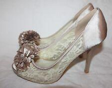 Zapatos de Novia Peep Toe Champán Beige Con Flores Pm 316