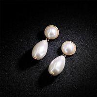 Boucles d'oreilles CLIP ON Doré Art Deco Rond Goutte Gros Perle Blanc Class DD13