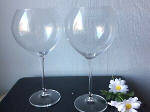Living Clarity Crystal GALWAY Giant Wine Glasses PAIR of Glassware Balloons600ml