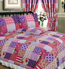 KING SIZE DUVET COVER SET PATCHWORK BERRY PLUM PINK FLORAL CREAM WHITE TARTAN