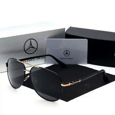 Lunettes de soleil polarisées noires Benz Mercedes Aviator avec étui