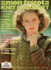 Mon Tricot MD 88 Knitting Crochet Patterns Aran Norwegian Tweed Pullover 1981