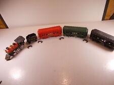 Vintage Cast Iron Train Set 3 Cars 1 Tender & Engine Prr Washington 44 Mid 70's