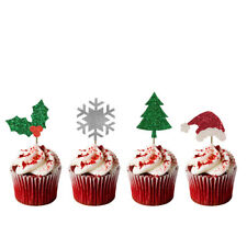 Christmas Cupcake Toppers- Pack of 10 - Holly, Tree, Star, Snowflake - Glittery