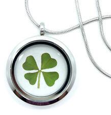 Real Handmade 4-Leaf Clover Glass Locket Necklace -Stainless Steel 4-Leaf Clover