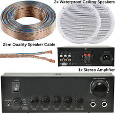110W Stereo Amplifier System Kit–2x Waterproof Bathroom/Kitchen Ceiling Speakers